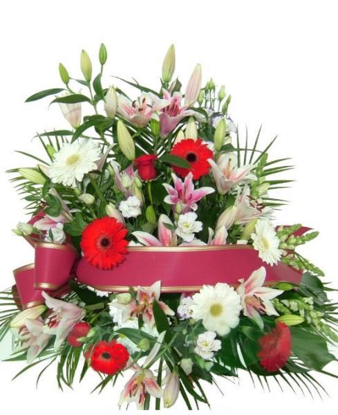 F935 Centro funerario tonos rojo y blanco