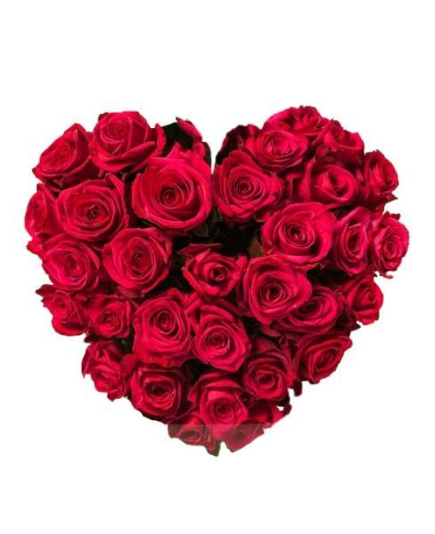 F960 Centro funerario corazón rosas rojas