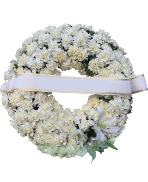 F895 Corona funeraria claveles blancos