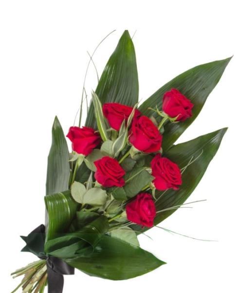 F908. Ramo Funerario siete rosas rojas